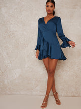Long Sleeve Ruffle Wrap Look Mini Dress in Green