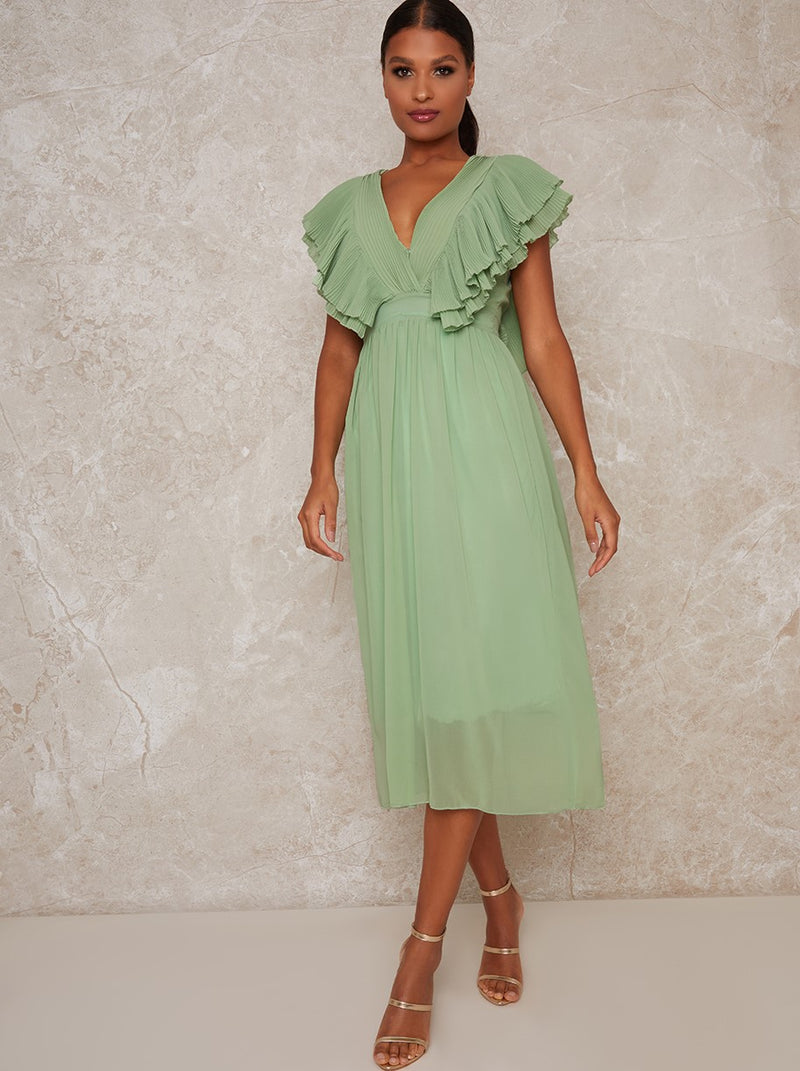 Midi Dress with Ruffle Details in Green
