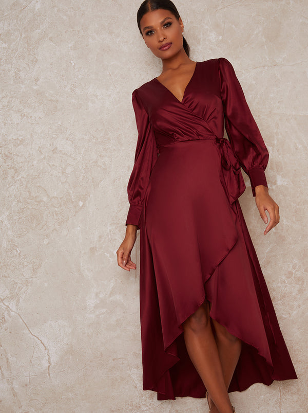 Satin Wrap Long Sleeve V-Neck Dress in Red