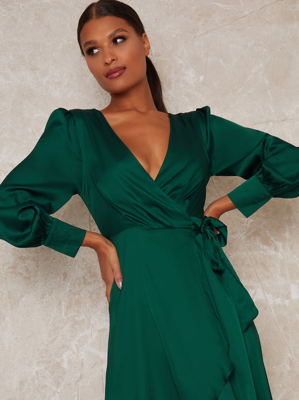 Satin Wrap Long Sleeve Dip Hem Dress in Green
