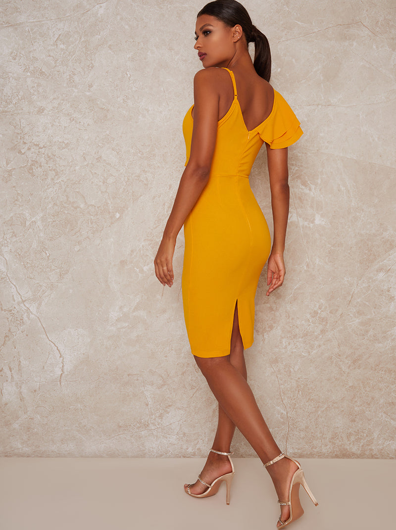 Cami Strap Frill Detail Bodycon Dress in Yellow