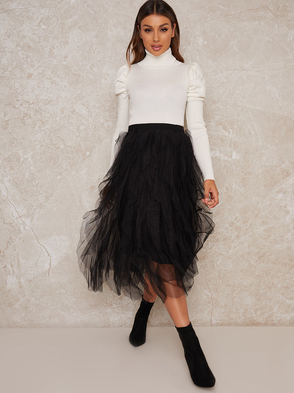 Midi Skirt with Tulle Design in Black