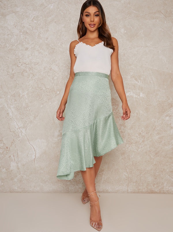 Asymmetric Design Elasticated Waist Midi Skirt in Green
