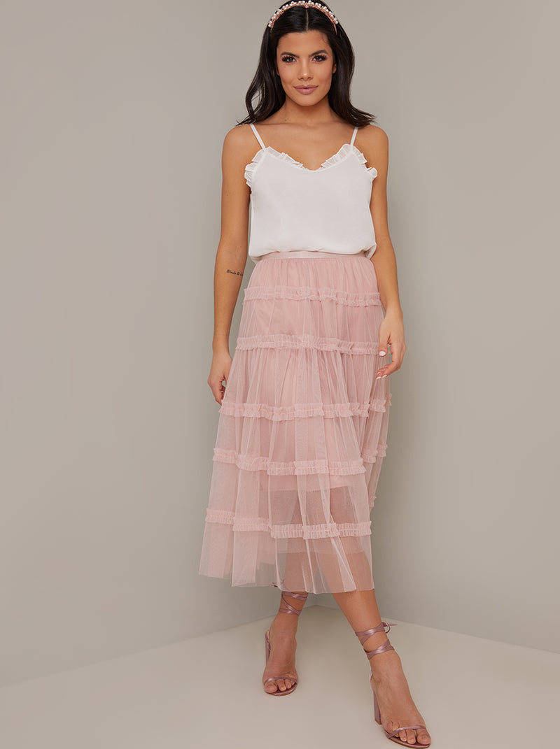 Mesh Overlay Tiered Midi Skirt in Pink