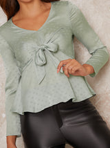 Spot Detail Silky Top in Green