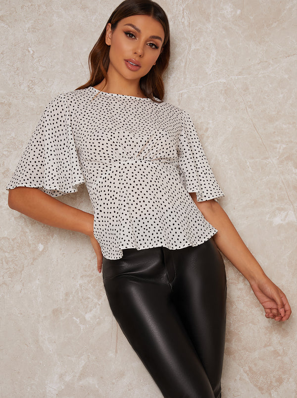 Spot Print Angel Sleeve Top in White