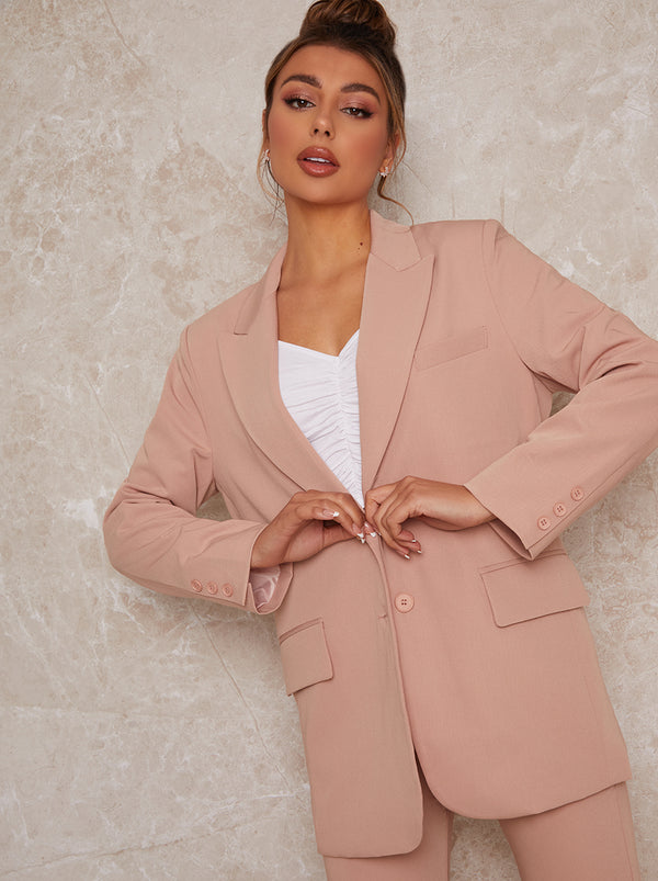 Tailored Oversized Blazer in Pink