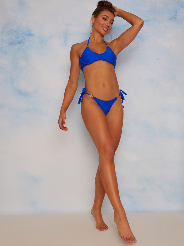 Tie Side Bikini Bottoms with Gold Trim in Blue