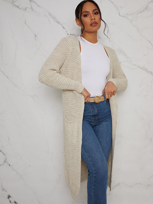 Knitted Maxi Cardigan in Beige