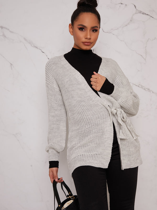 Knitted Cardigan with Tie Detail in Grey
