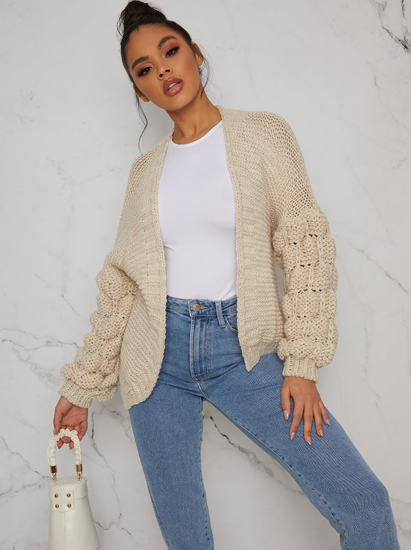 Knitted Cardigan with Bobble Sleeve Detail in Beige