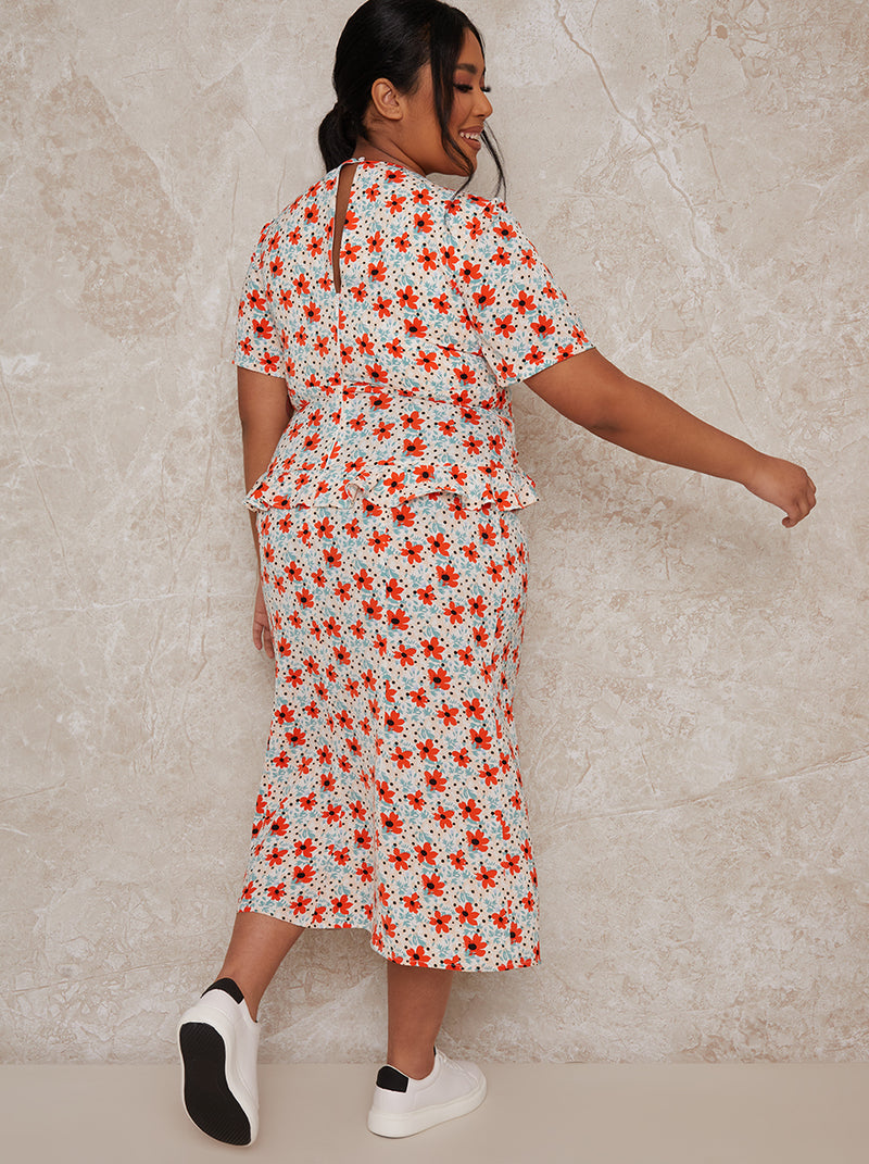 Plus Size Floral Print Ruffle Waist Midi Dress