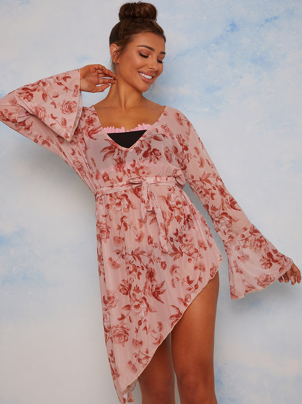 Ruffle Trim Floral Print Cover Up in Nude