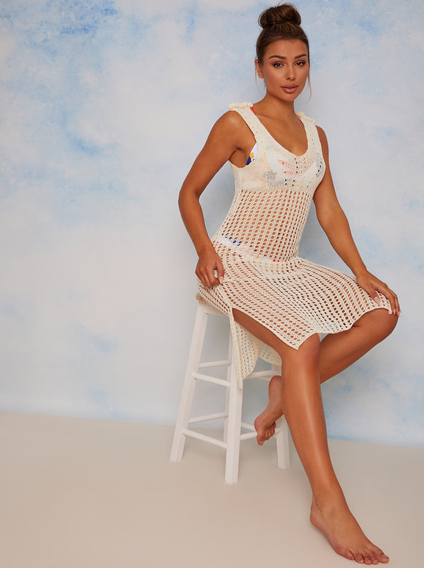 Sleeveless Sheer Cover Up in White
