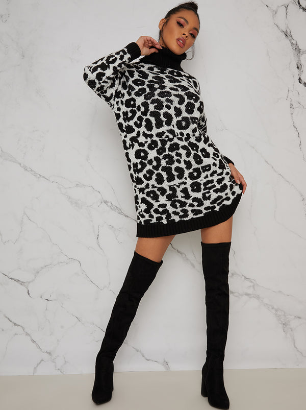 Long Sleeve Roll Neck Knitted Jumper Dress in Black Animal Print