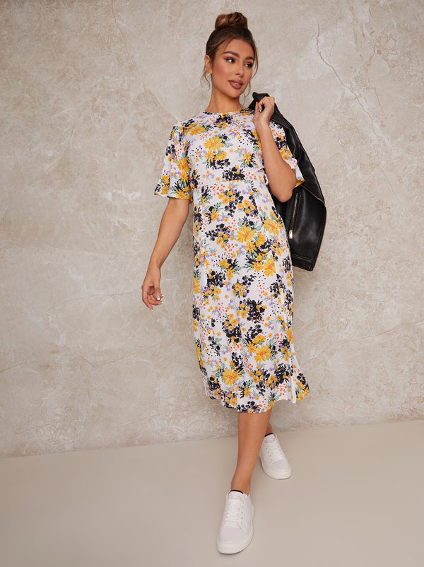 Flutter Sleeve Floral Print Midi Day Dress in White