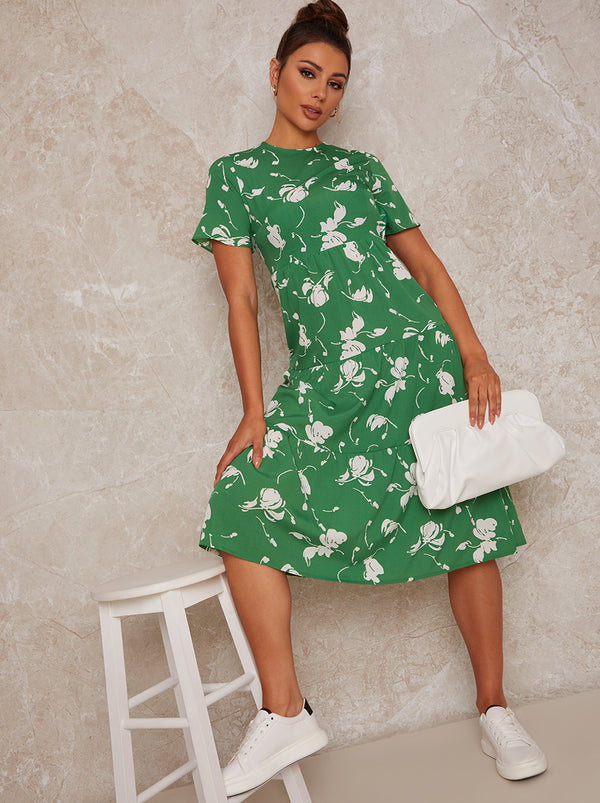 Flutter Sleeve Floral Print Midi Day Dress in Green