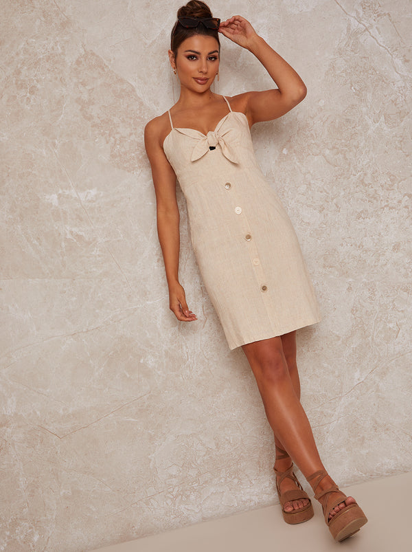 Cami Tie Front Midi Day Dress in Cream