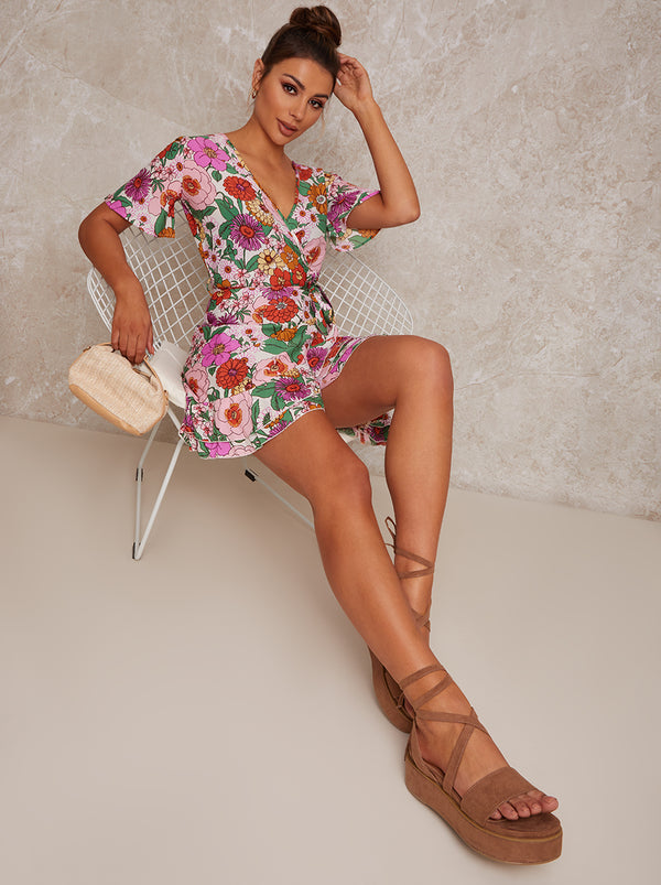 Flutter Sleeve Wrap Floral Print Mini Day Dress in Multi