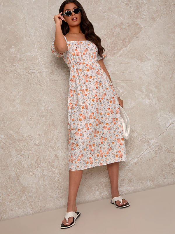Puff Sleeve Square Neck Floral Print Midi Dress in White