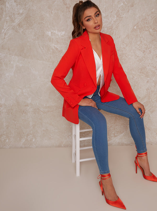 Oversized Tailored Blazer in Coral