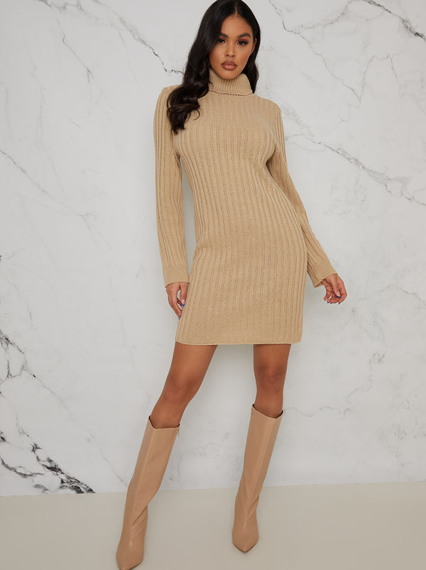 Roll Neck Ribbed Jumper Dress in Beige