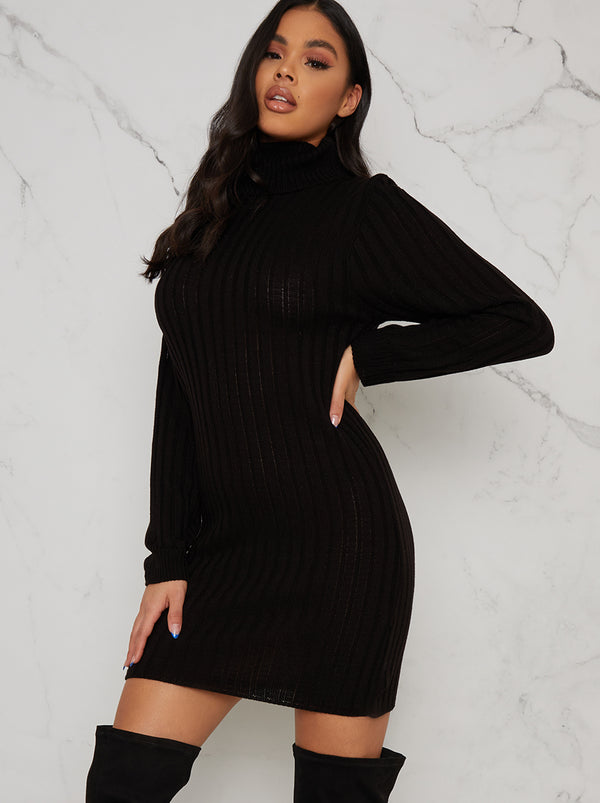 Roll Neck Ribbed Jumper Dress In Black