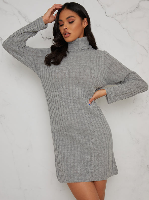 Roll Neck Ribbed Jumper Dress in Grey