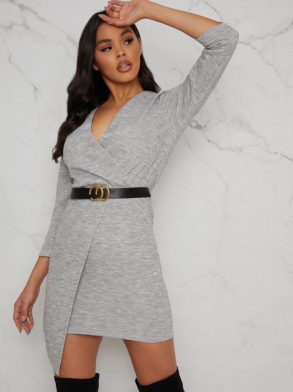 Belted Knitted Wrap Jumper Dress In Grey
