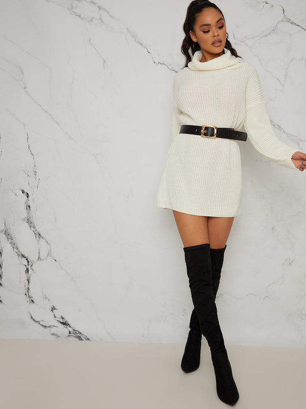 Roll Neck Rib Jumper Dress In Cream