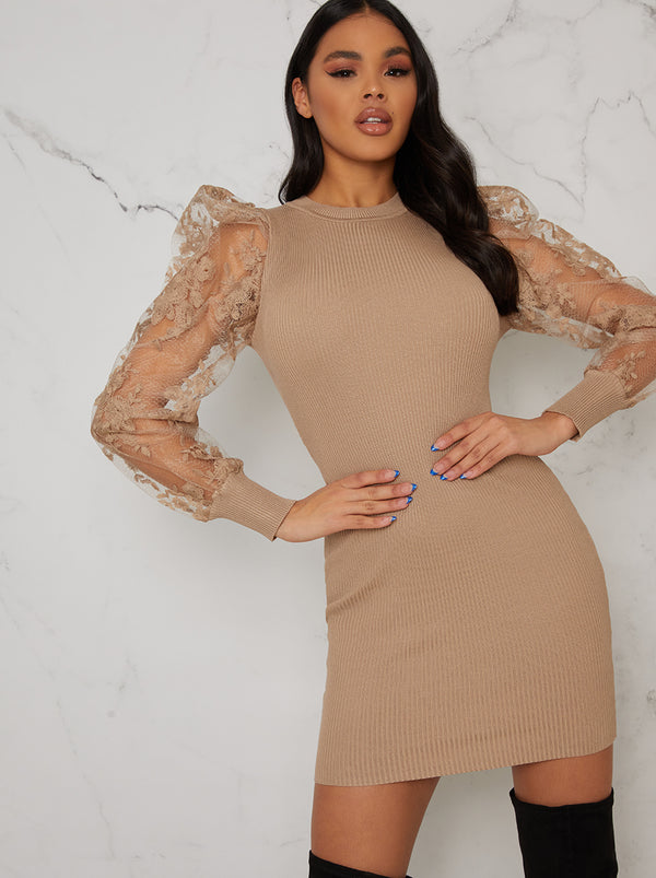 Lace Balloon Sleeved Rib Jumper Dress In Beige