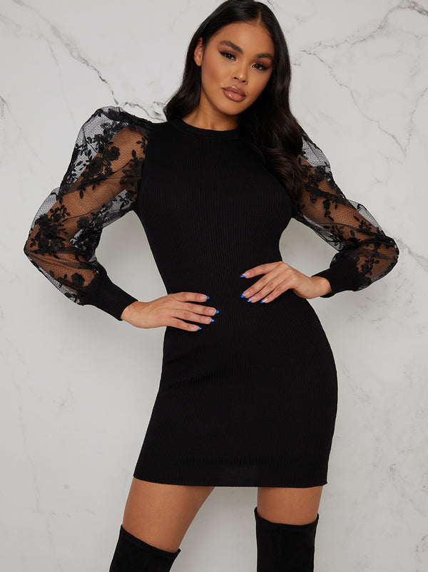 Lace Balloon Sleeved Rib Jumper Dress In Black