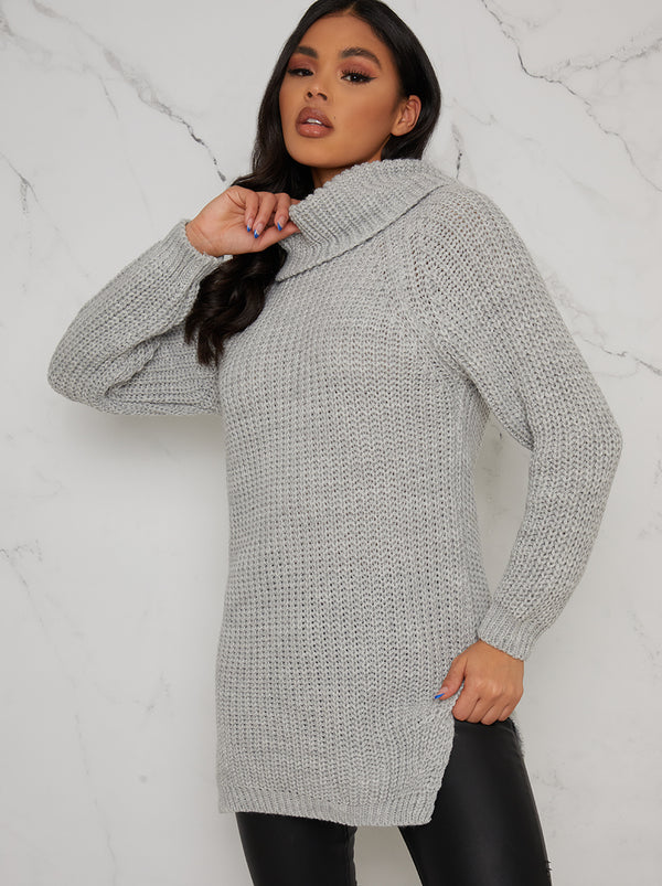 High Neck Ribbed Longline Jumper In Grey