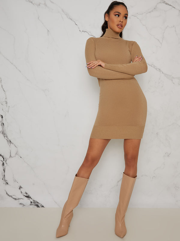 Polo Neck Rib Knit Mini Jumper Dress In Beige
