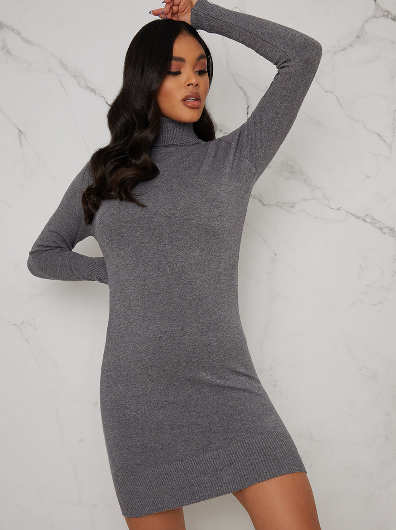 Polo Neck Rib Knit Mini Jumper Dress In Grey