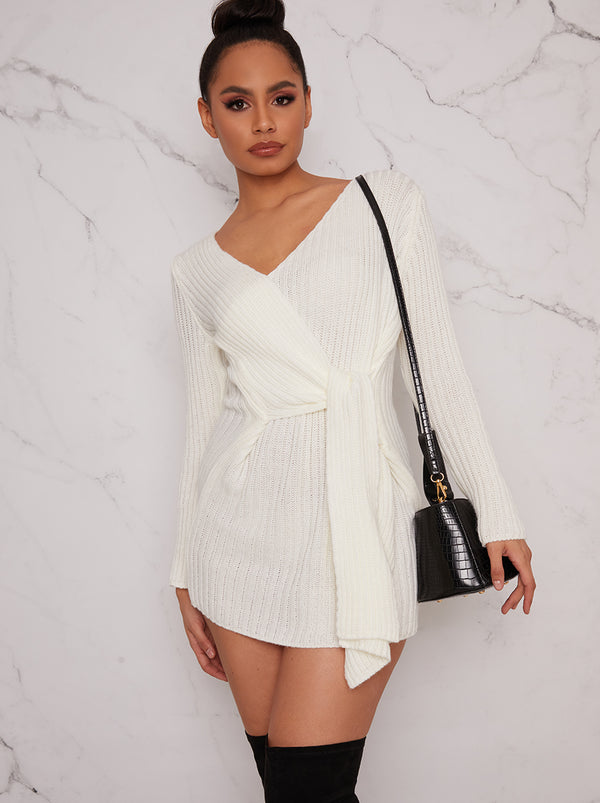 Knitted Tie Detail V Neck Jumper Dress in Cream