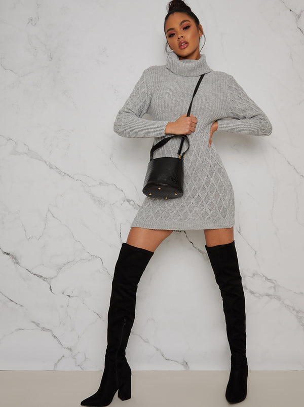 Long Sleeved Roll Neck Jumper Dress in Grey