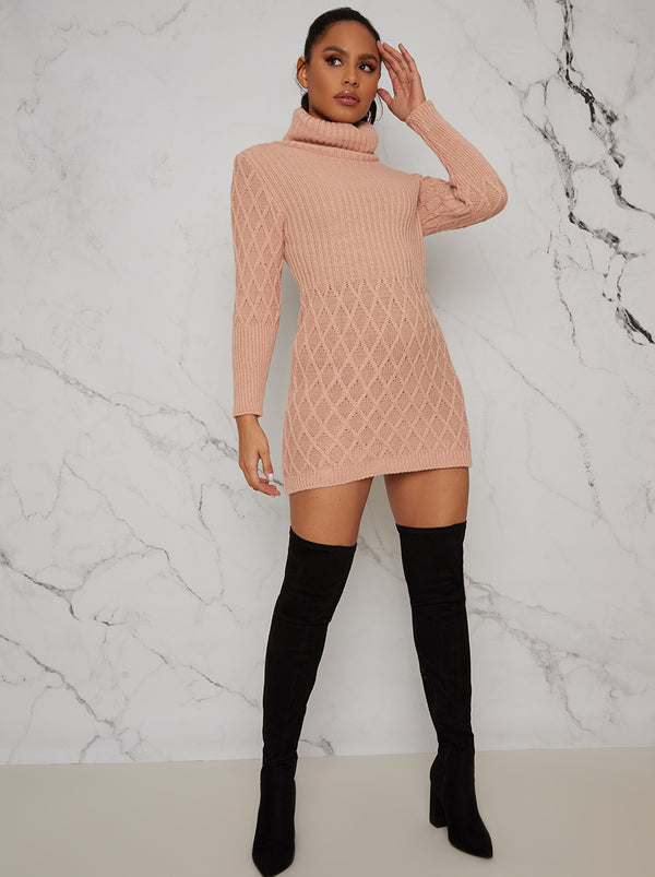 Long Sleeved Roll Neck Jumper Dress in Pink