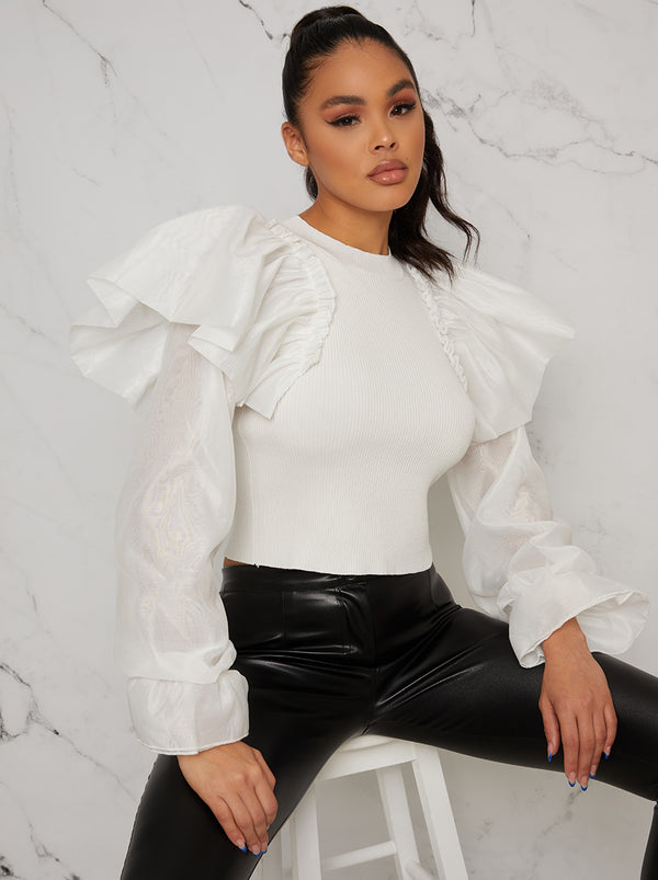 Ruffle Balloon Sleeved Knitted Jumper In White