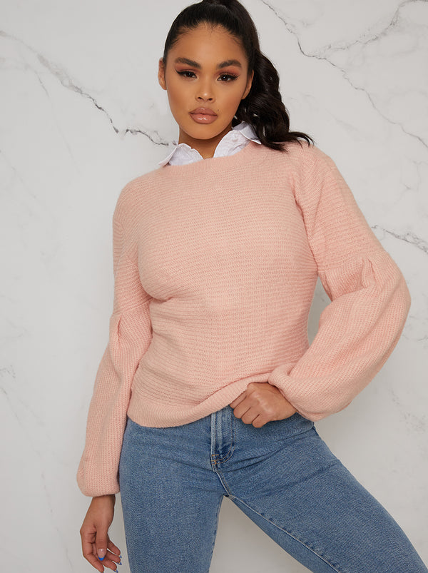 Balloon Sleeved Crew Neck Jumper In Pink