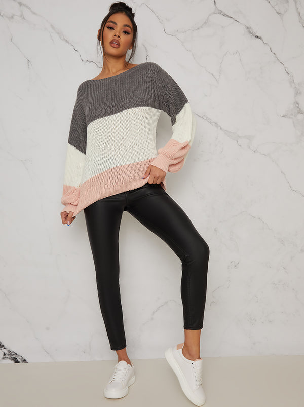 Colour Block Balloon Sleeved Jumper In Multi