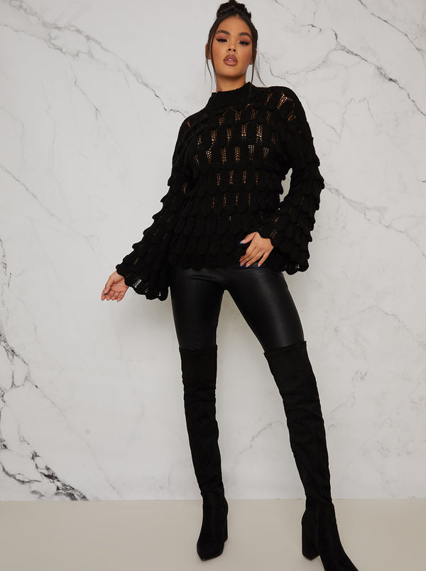 Knitted Crochet Bell Sleeve Jumper In Black