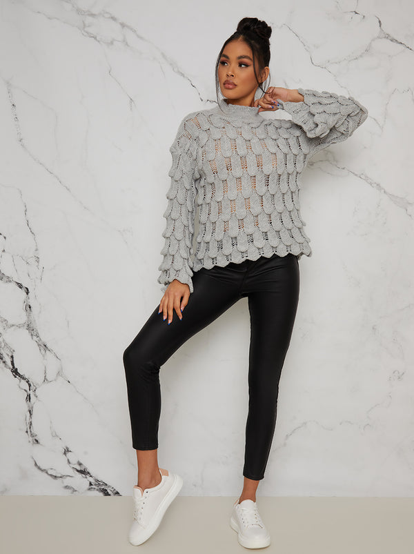 Knitted Crochet Bell Sleeve Jumper in Grey