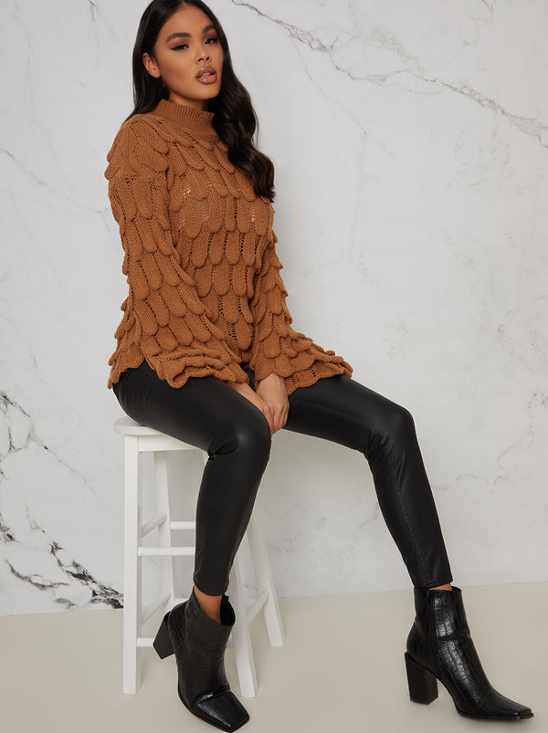 Knitted Crochet Bell Sleeve Jumper in Tan
