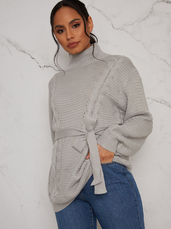 Cable Knit Jumper with Tie Waist in Grey