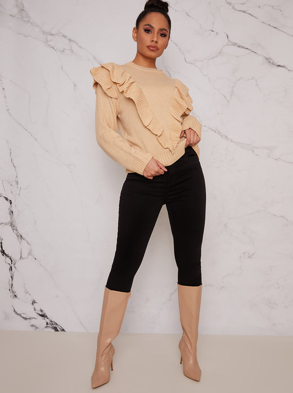 Frill Front Jumper in Beige