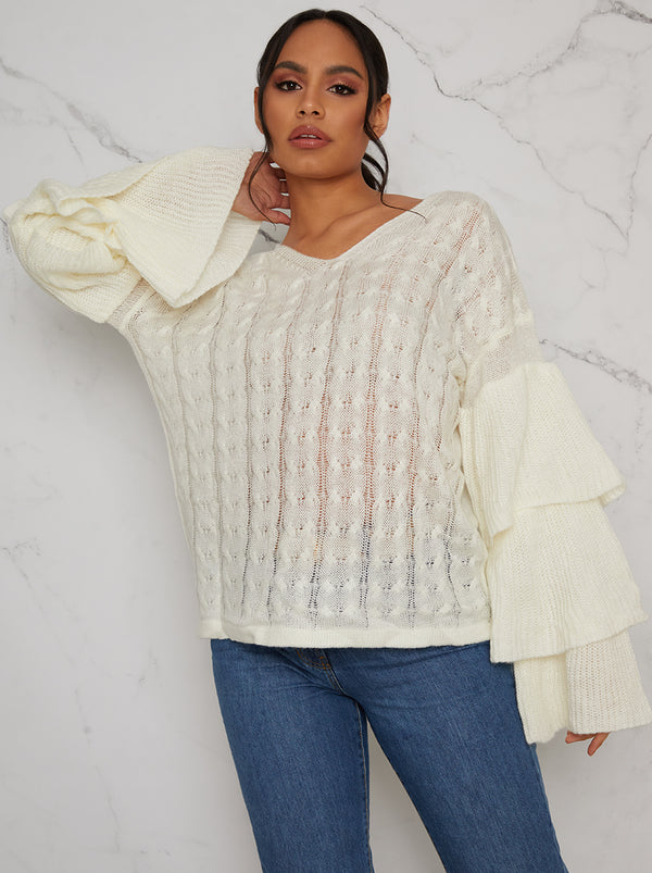 Ruffle Sleeve Jumper in Cream