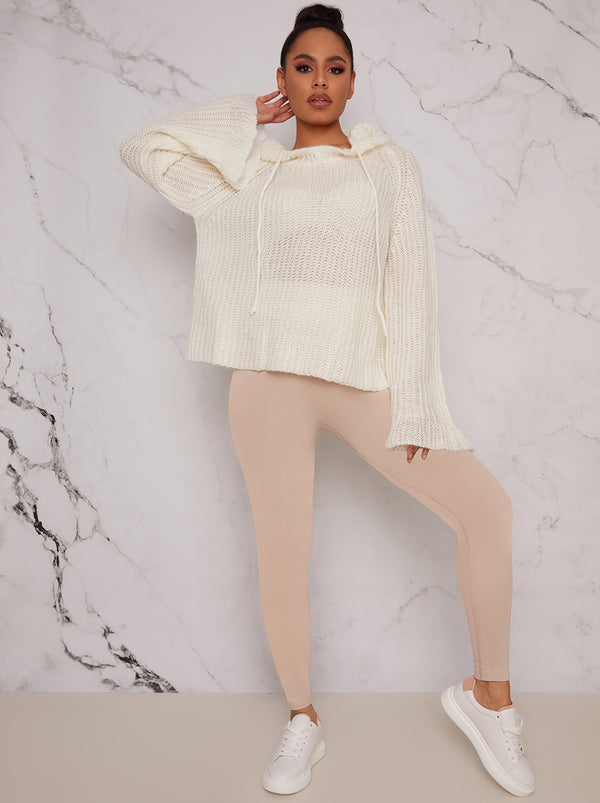 Knitted Loungewear Hoodie in Cream