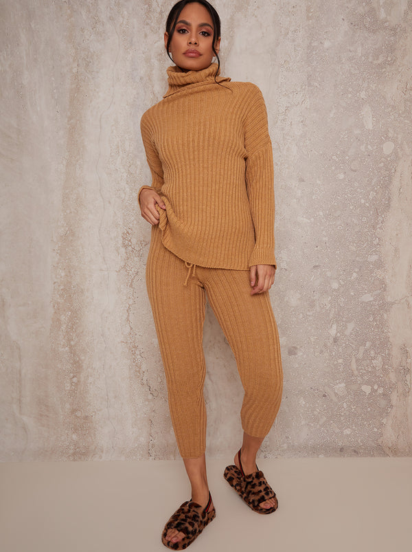 Roll Neck Ribbed Knit Loungewear Set in Camel