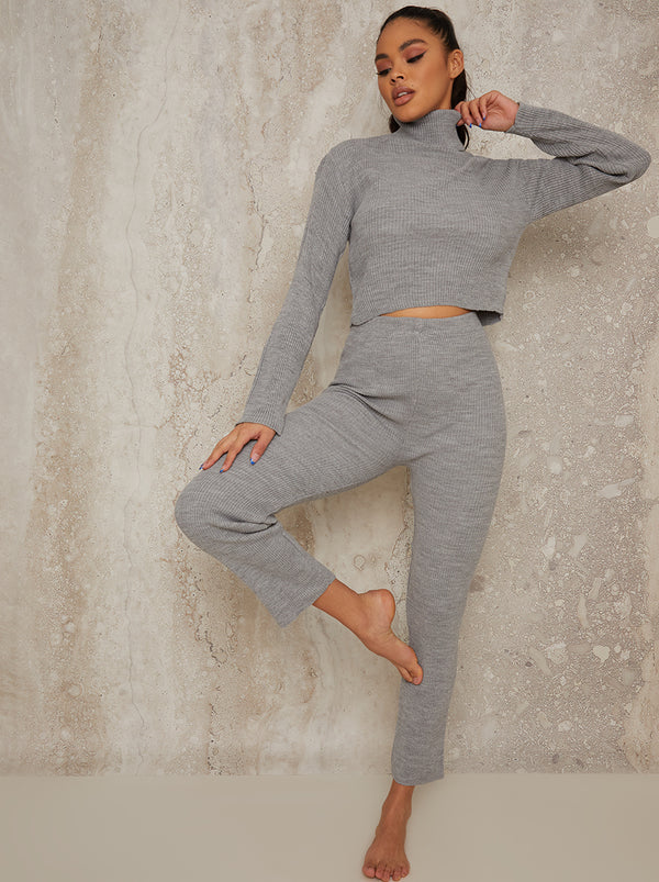 Knitted Straight Leg Lounge Set in Grey